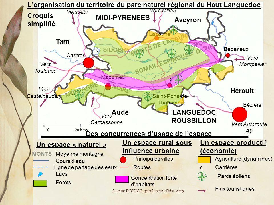 Jeanne POUJOL, professeur d'hist-géog Lorganisation du territoire du parc naturel régional du Haut Languedoc Vers Albi Vers Toulouse Vers Castelnaudar