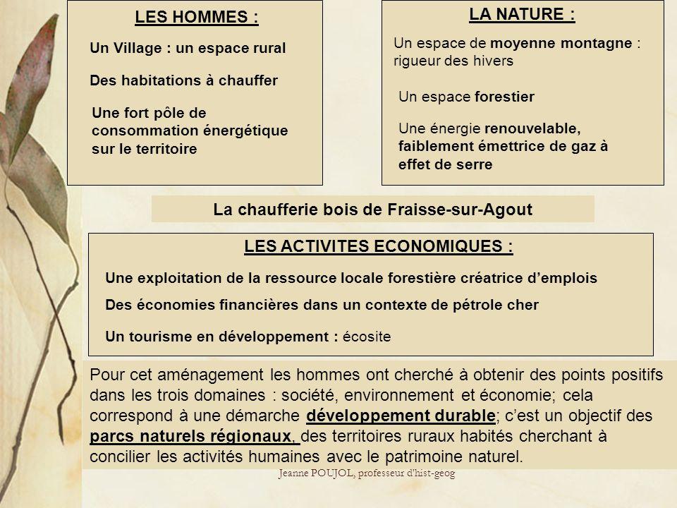 Jeanne POUJOL, professeur d'hist-géog LES HOMMES : LA NATURE : LES ACTIVITES ECONOMIQUES : Des habitations à chauffer Un Village : un espace rural Une