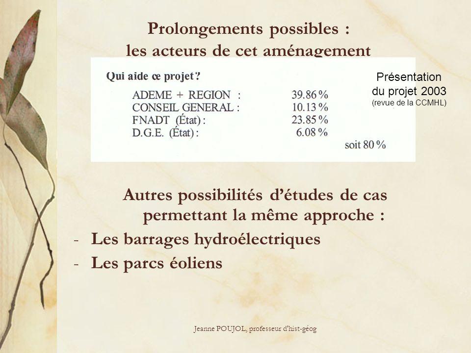 Jeanne POUJOL, professeur d'hist-géog Prolongements possibles : les acteurs de cet aménagement Autres possibilités détudes de cas permettant la même a