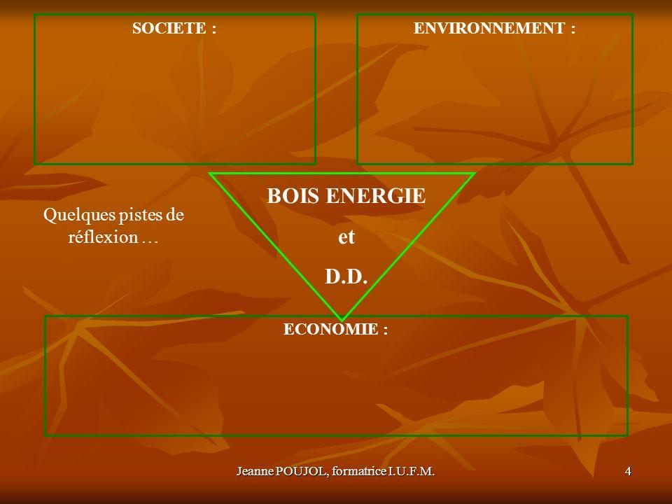 Jeanne POUJOL, formatrice I.U.F.M.5 SOCIETE : - Fourniture de chauffage (collectif ou individuel) - Indépendance énergétique par la production dune énergie locale - Création demplois BILAN ENERGETIQUE DE LA REGION EN 2003 Deux faits marquants : - Importance du transport et du résidentiel - Faible part de lactivité industrielle Source : « la région clé de voûte de la contractualisation pour relever le défi climatique », Ateliers du Développement durable, 18 octobre 200, (PDF) Source : lénergie en Languedoc Roussillon, Analyses sectorielles régionales », DRIRE, 2008(PDF) Une production essentiellement dorigine renouvelable : 1/3 origine hydraulique (électricité) 1/3 dorigine biomasse (production thermique) La région est faiblement productrice : moins de 1% de la production nationale dénergie