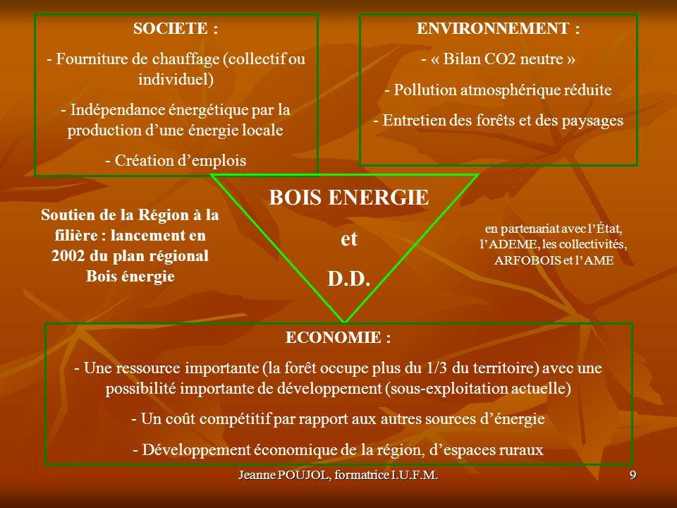 Jeanne POUJOL, formatrice I.U.F.M.9 SOCIETE : - Fourniture de chauffage (collectif ou individuel) - Indépendance énergétique par la production dune én