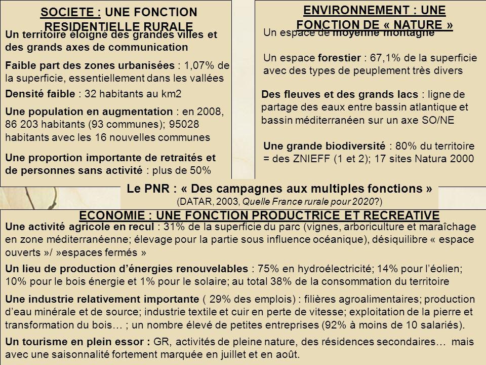 Jeanne POUJOL, formatrice IUFM, histoire- géographie Le PNR du haut Languedoc : un territoire rural en mutation SOCIETE : UNE FONCTION RESIDENTIELLE R