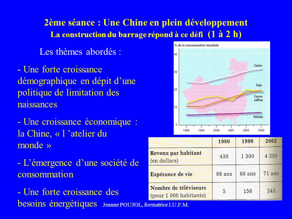 Jeanne POUJOL, formatrice I.U.F.M. 2ème séance : Une Chine en plein développement La construction du barrage répond à ce défi (1 à 2 h) Les thèmes abo