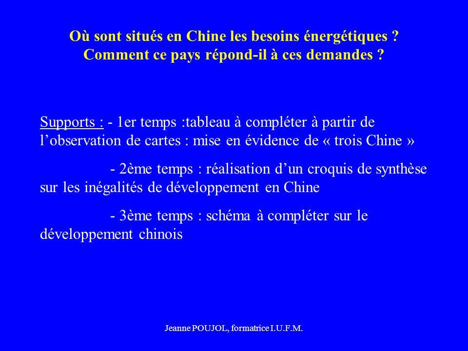 Jeanne POUJOL, formatrice I.U.F.M. Où sont situés en Chine les besoins énergétiques ? Comment ce pays répond-il à ces demandes ? Supports : - 1er temp