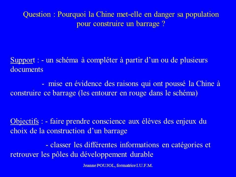 Jeanne POUJOL, formatrice I.U.F.M. Question : Pourquoi la Chine met-elle en danger sa population pour construire un barrage ? Support : - un schéma à