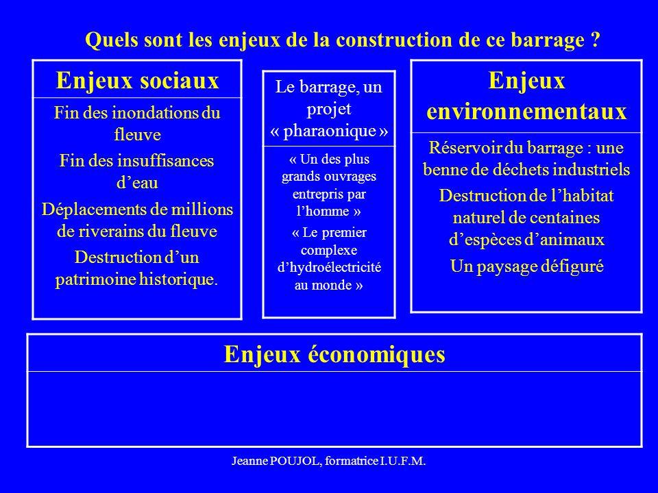 Jeanne POUJOL, formatrice I.U.F.M. Quels sont les enjeux de la construction de ce barrage ? Enjeux économiques Enjeux sociaux Fin des inondations du f