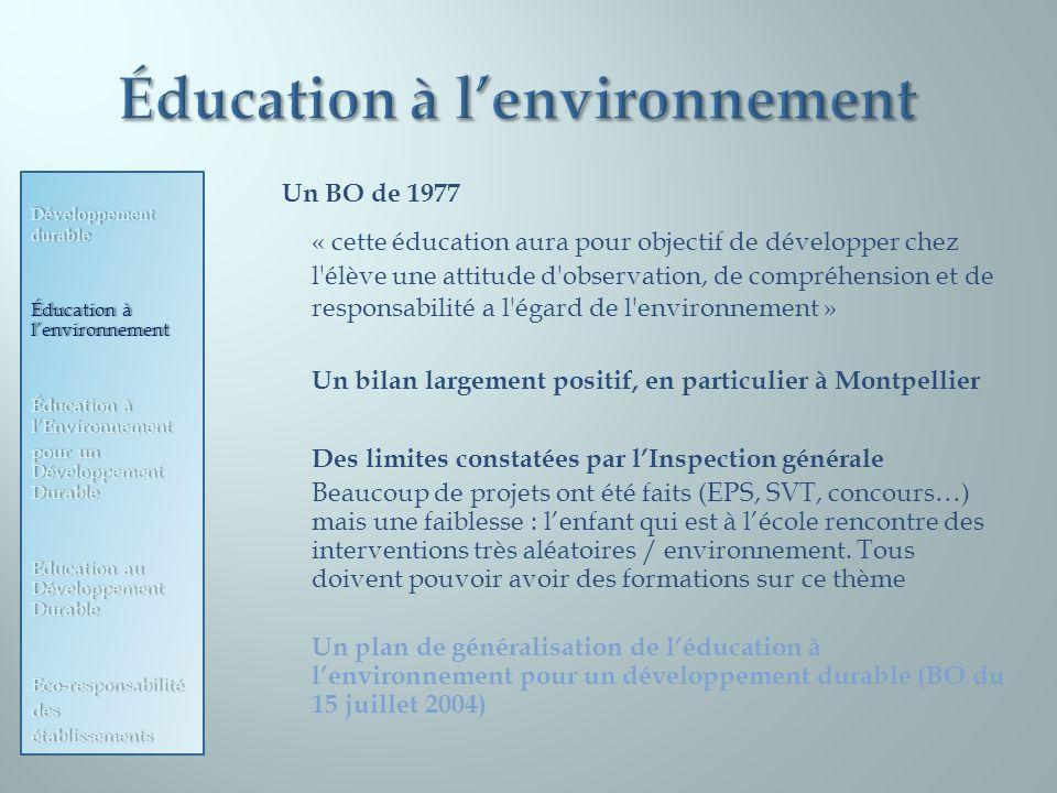 Un BO de 1977 « cette éducation aura pour objectif de développer chez l'élève une attitude d'observation, de compréhension et de responsabilité a l'ég