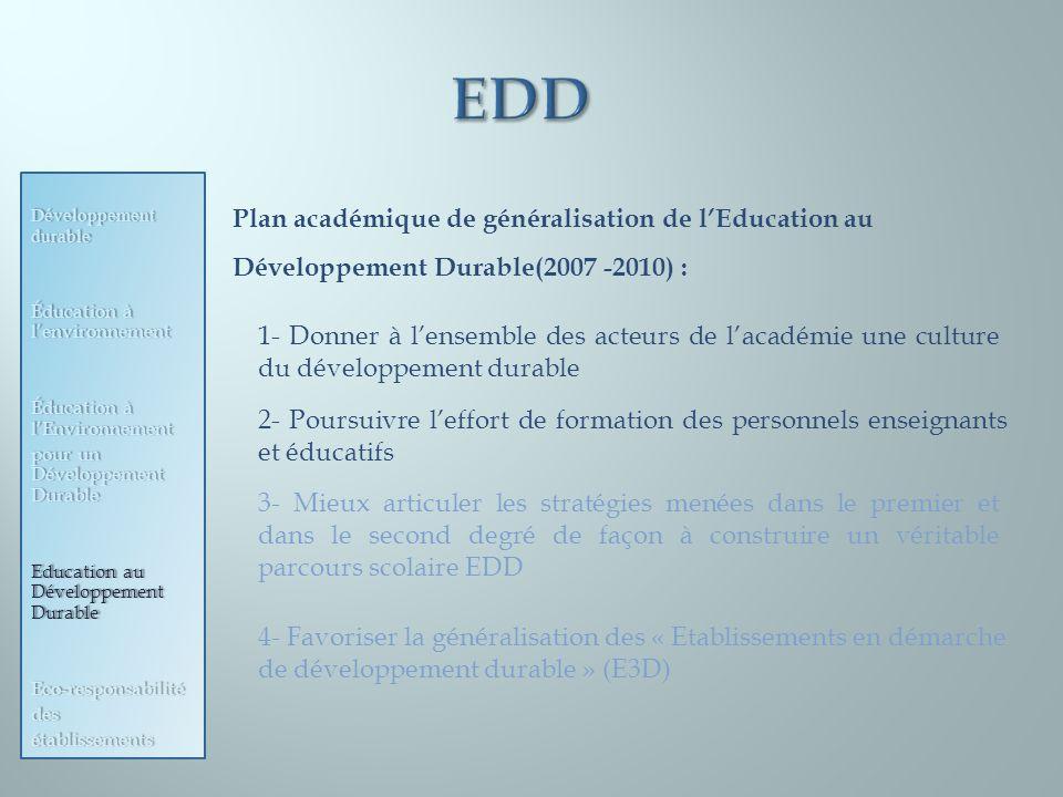 Développement durable Éducation à lenvironnement Éducation à lEnvironnement pour un Développement Durable Education au Développement Durable Eco-respo