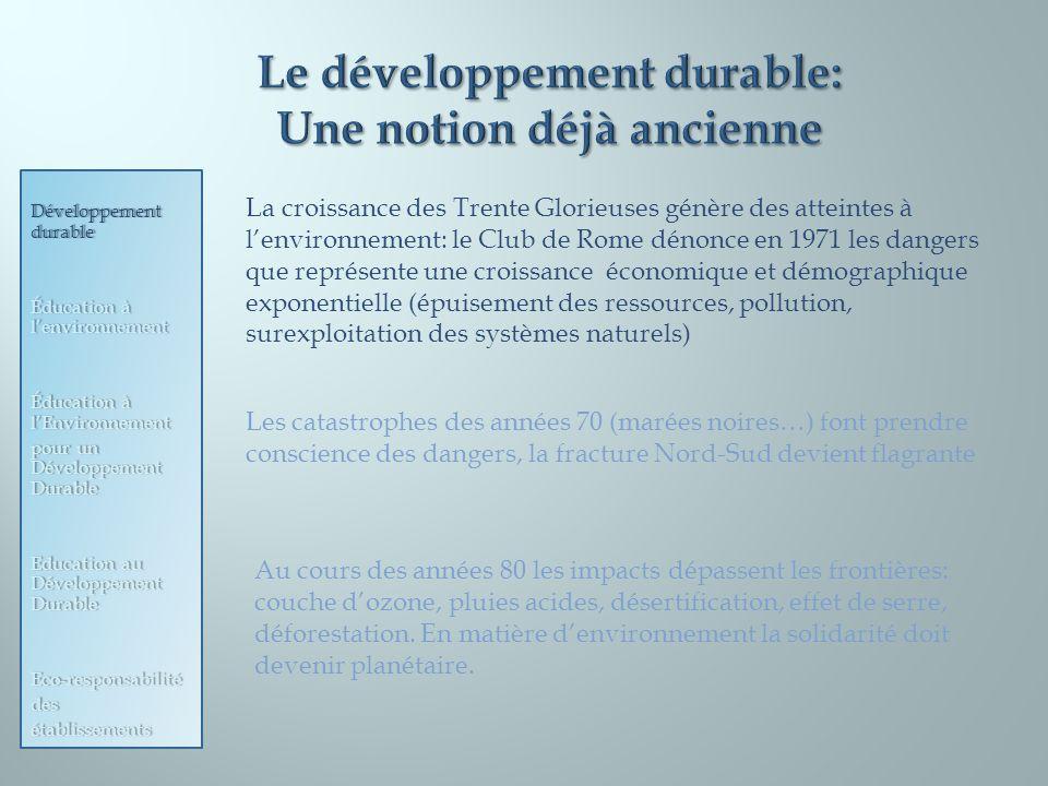 La croissance des Trente Glorieuses génère des atteintes à lenvironnement: le Club de Rome dénonce en 1971 les dangers que représente une croissance é