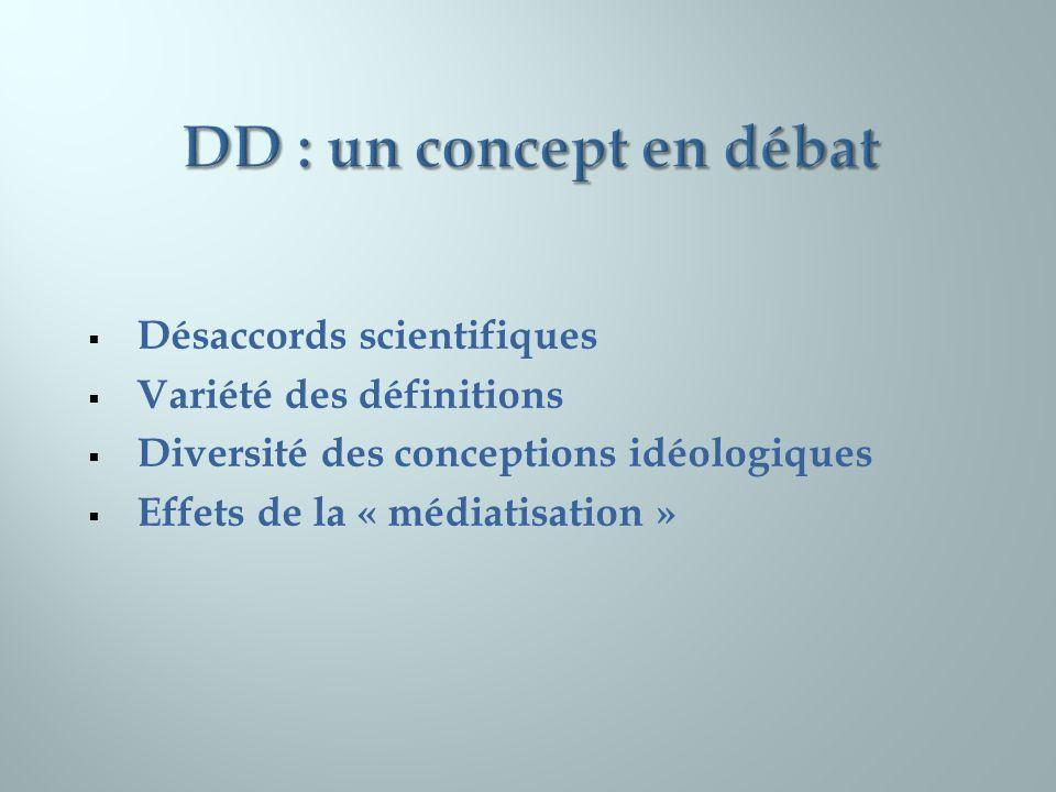 Désaccords scientifiques Variété des définitions Diversité des conceptions idéologiques Effets de la « médiatisation »