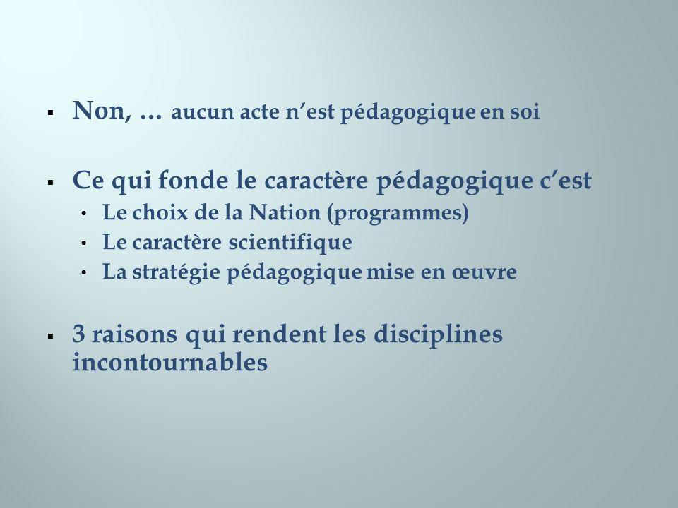 Non, … aucun acte nest pédagogique en soi Ce qui fonde le caractère pédagogique cest Le choix de la Nation (programmes) Le caractère scientifique La s