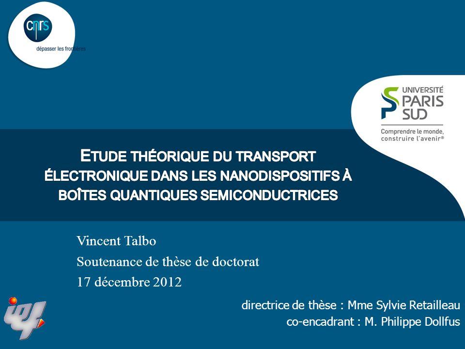 Blocage de Coulomb Soutenance de thèse1217/12/2012 Transistor à un électron (SET) : contrôle par la grille Energie de charge: (énergie à apporter pour ajouter un électron dans lîlot)