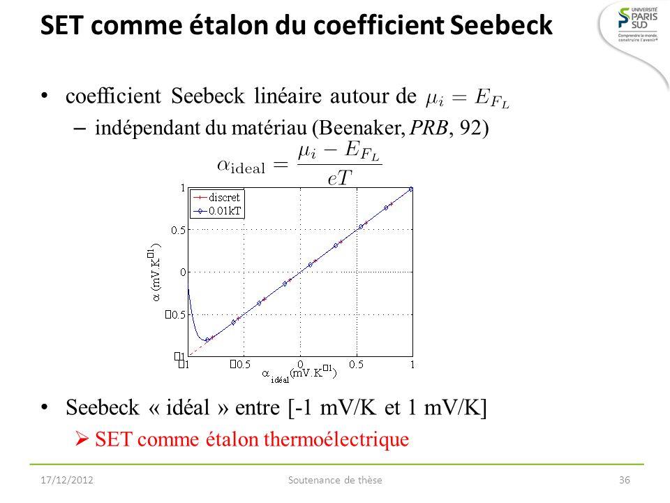 SET comme étalon du coefficient Seebeck coefficient Seebeck linéaire autour de – indépendant du matériau (Beenaker, PRB, 92) 17/12/2012Soutenance de t