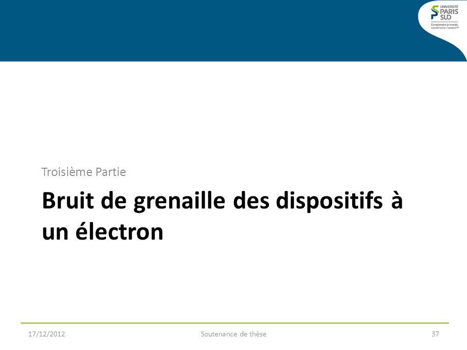 Bruit de grenaille des dispositifs à un électron Troisième Partie 17/12/2012Soutenance de thèse37