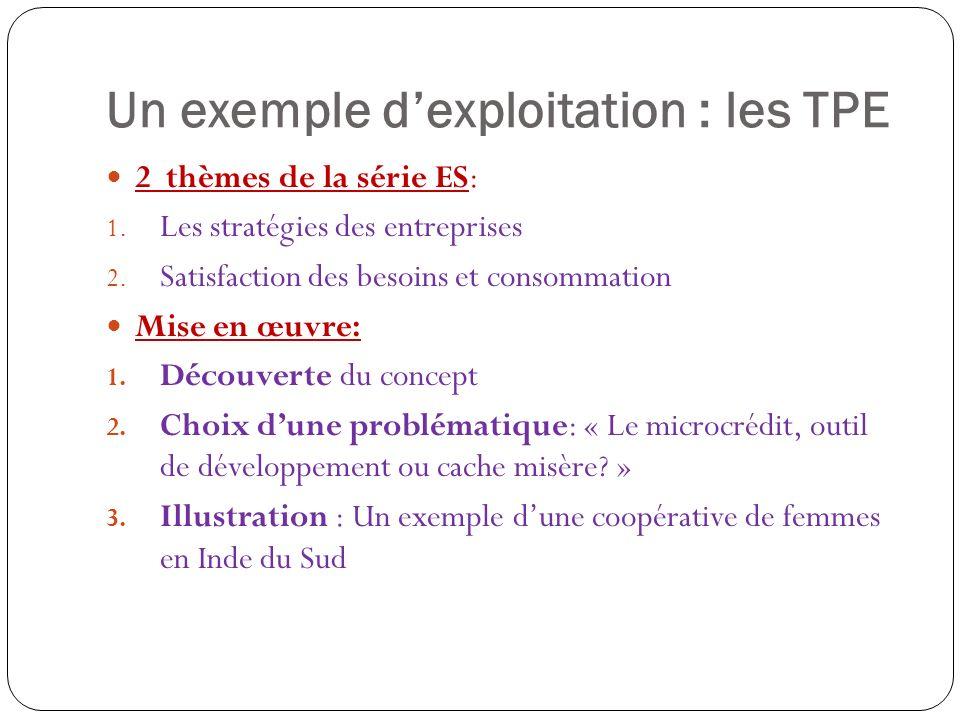 Un exemple dexploitation : les TPE 2 thèmes de la série ES: 1.