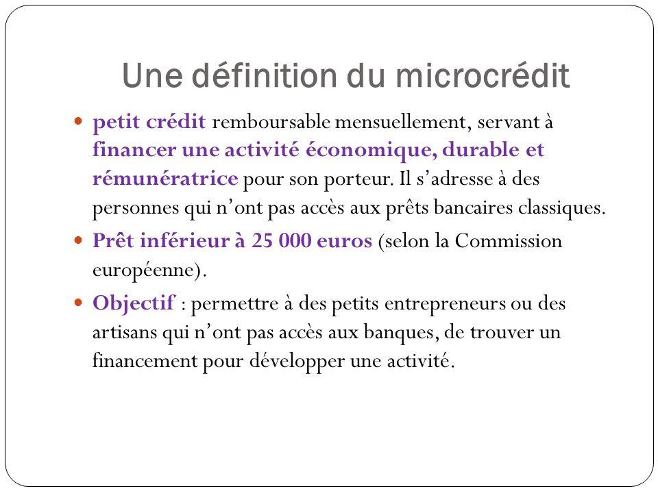 Une définition du microcrédit petit crédit remboursable mensuellement, servant à financer une activité économique, durable et rémunératrice pour son porteur.