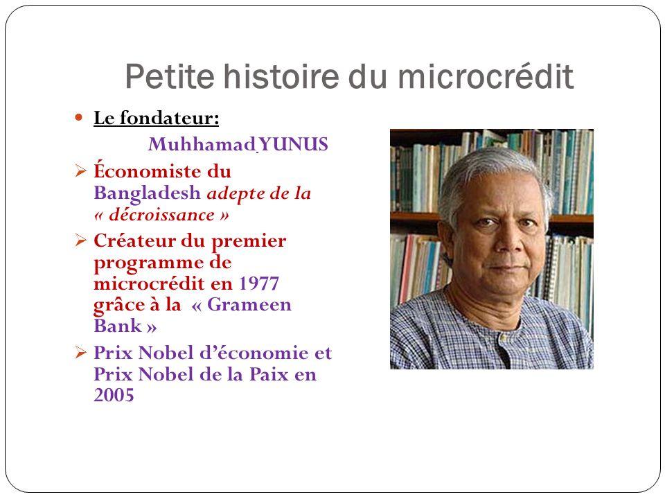 Petite histoire du microcrédit Le fondateur: Muhhamad YUNUS Économiste du Bangladesh adepte de la « décroissance » Créateur du premier programme de microcrédit en 1977 grâce à la « Grameen Bank » Prix Nobel déconomie et Prix Nobel de la Paix en 2005
