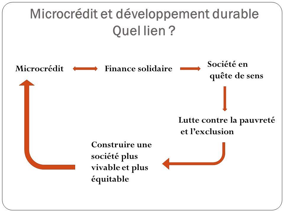 Microcrédit et développement durable Quel lien .