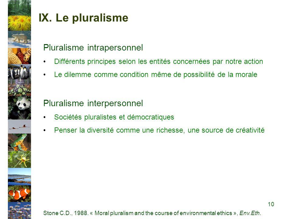 IX. Le pluralisme Pluralisme intrapersonnel Différents principes selon les entités concernées par notre action Le dilemme comme condition même de poss