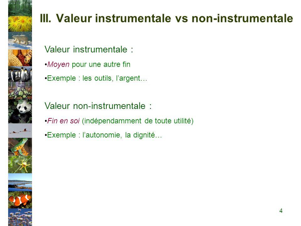III. Valeur instrumentale vs non-instrumentale Valeur instrumentale : Moyen pour une autre fin Exemple : les outils, largent… Valeur non-instrumentale