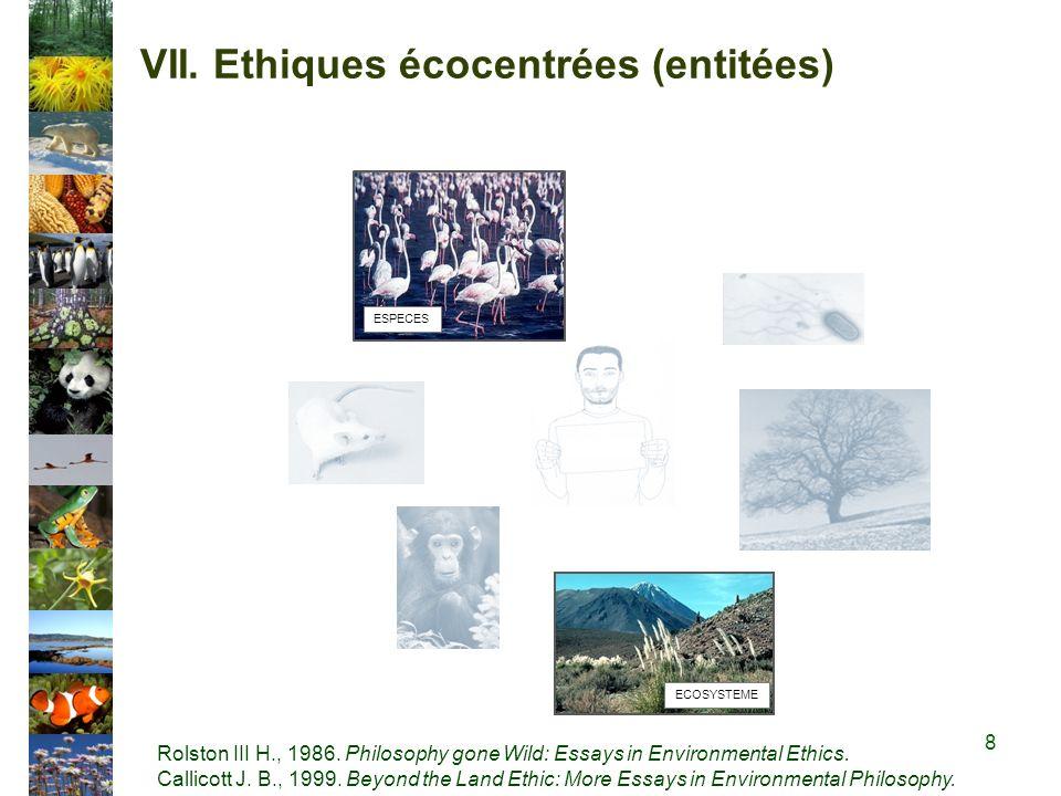 VII.Ethiques écocentrées (entitées) ESPECES ECOSYSTEME Rolston III H., 1986.