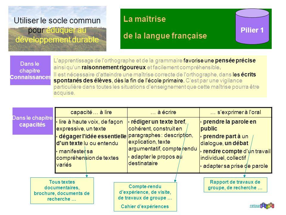 La maîtrise de la langue française Pilier 1 L'apprentissage de l'orthographe et de la grammaire favorise une pensée précise ainsi qu'un raisonnement r