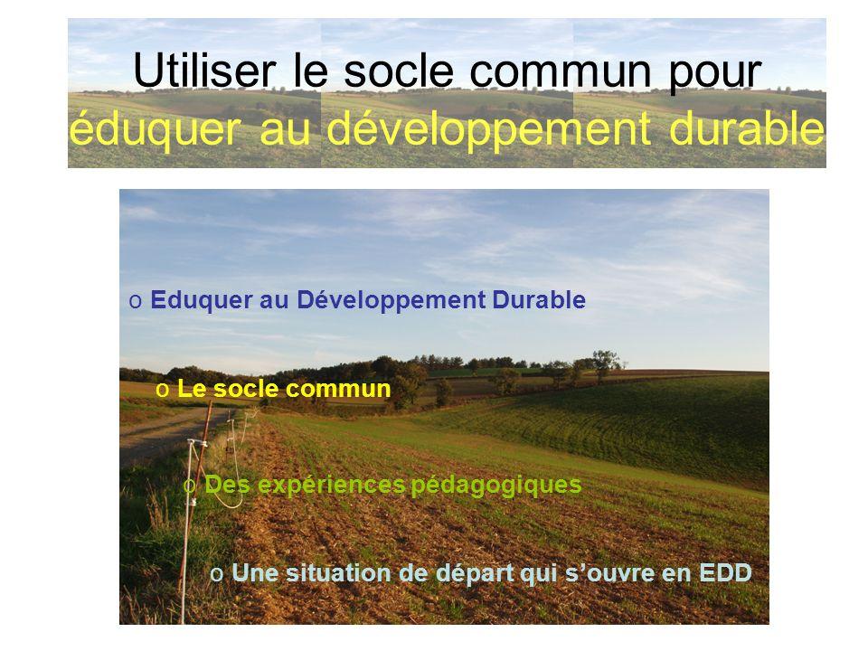o Eduquer au Développement Durable Utiliser le socle commun pour éduquer au développement durable Le Développement Durable o une définition au niveau de la planète o des champs dapplication dans létablissement scolaire
