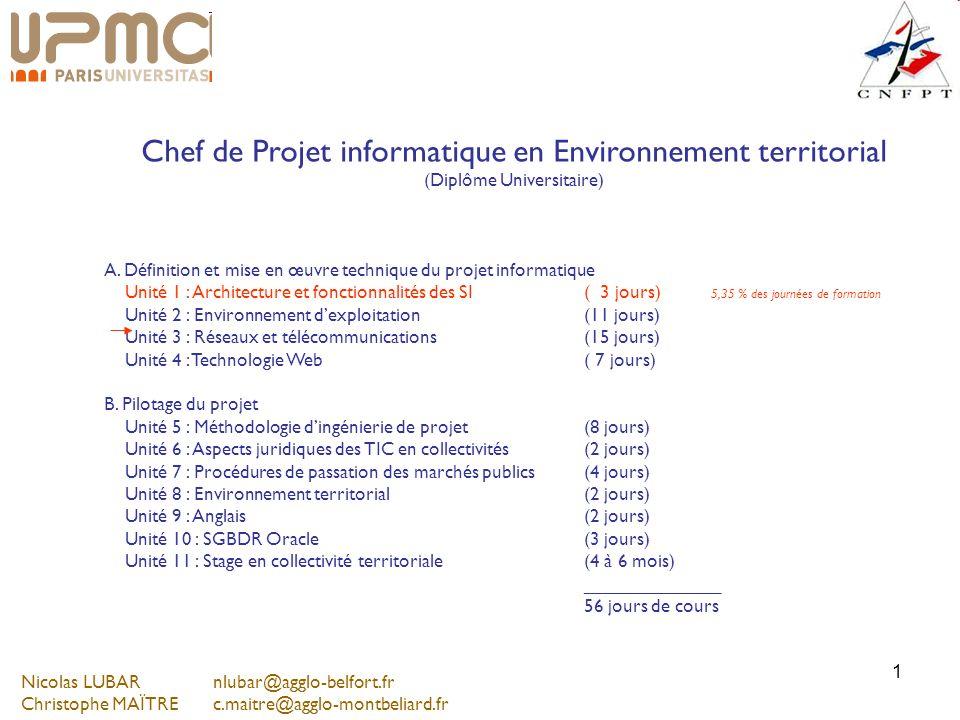 1 Chef de Projet informatique en Environnement territorial (Diplôme Universitaire) A. Définition et mise en œuvre technique du projet informatique Uni