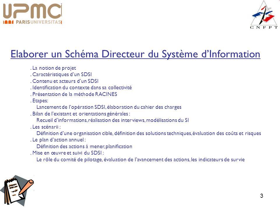 3. La notion de projet. Caractéristiques dun SDSI. Contenu et acteurs dun SDSI. Identification du contexte dans sa collectivité. Présentation de la mé