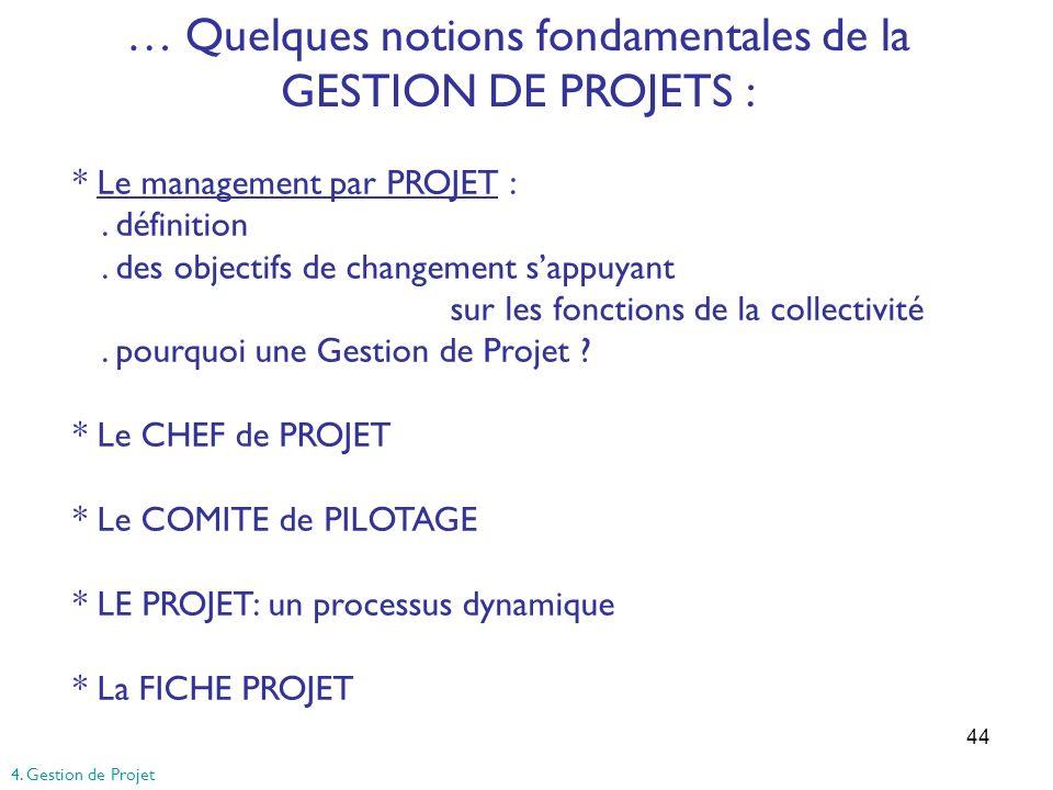 44 … Quelques notions fondamentales de la GESTION DE PROJETS : * Le management par PROJET :. définition. des objectifs de changement sappuyant sur les