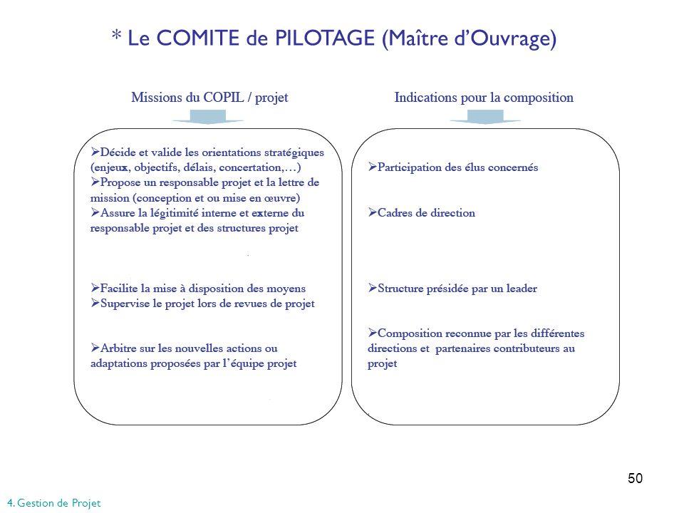50 * Le COMITE de PILOTAGE (Maître dOuvrage) 4. Gestion de Projet