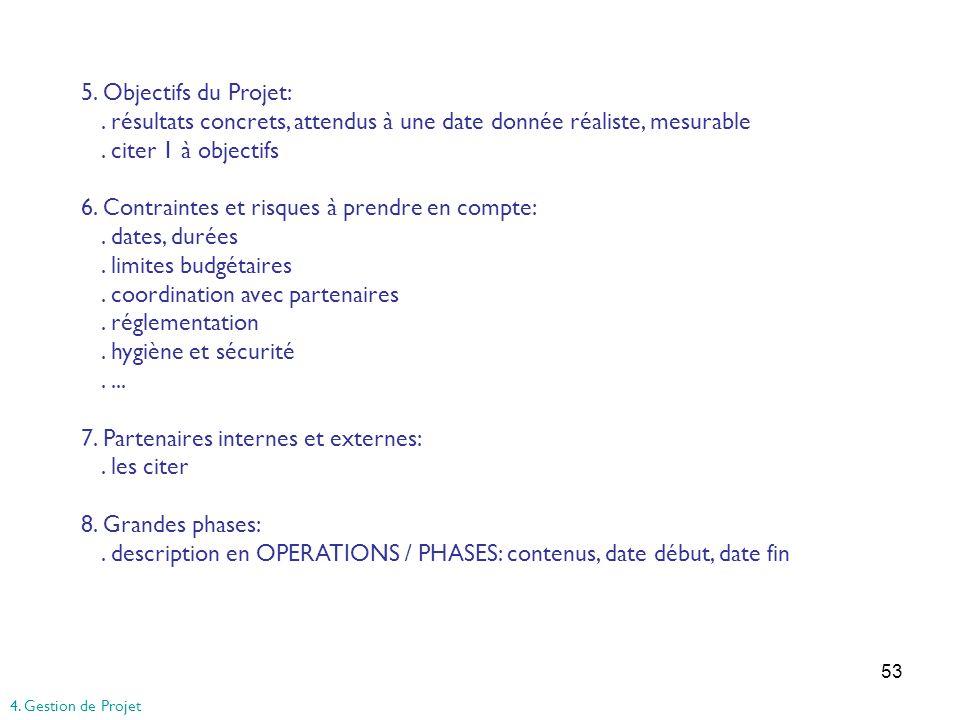 53 5. Objectifs du Projet:. résultats concrets, attendus à une date donnée réaliste, mesurable. citer 1 à objectifs 6. Contraintes et risques à prendr
