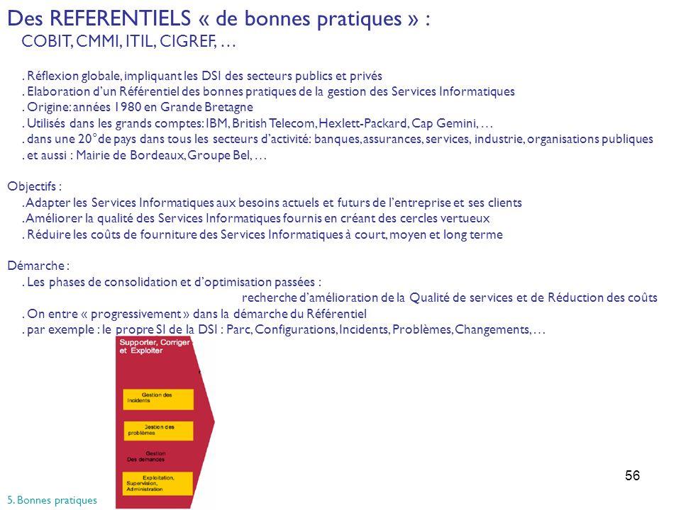 56 Des REFERENTIELS « de bonnes pratiques » : COBIT, CMMI, ITIL, CIGREF, …. Réflexion globale, impliquant les DSI des secteurs publics et privés. Elab