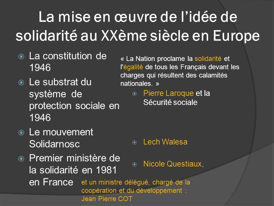 La mise en œuvre de lidée de solidarité au XXème siècle en Europe La constitution de 1946 Le substrat du système de protection sociale en 1946 Le mouv