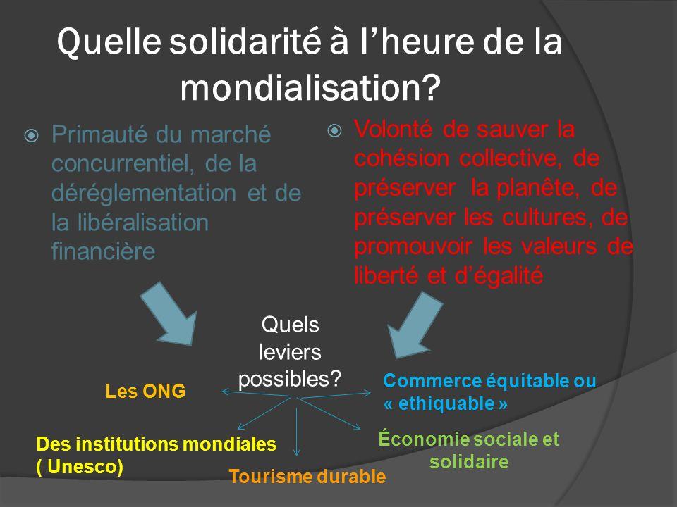 Quelle solidarité à lheure de la mondialisation? Primauté du marché concurrentiel, de la déréglementation et de la libéralisation financière Volonté d