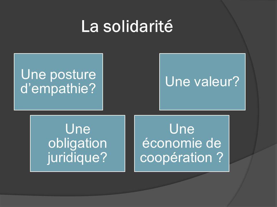 La solidarité Une posture dempathie? Une valeur? Une obligation juridique? Une économie de coopération ?