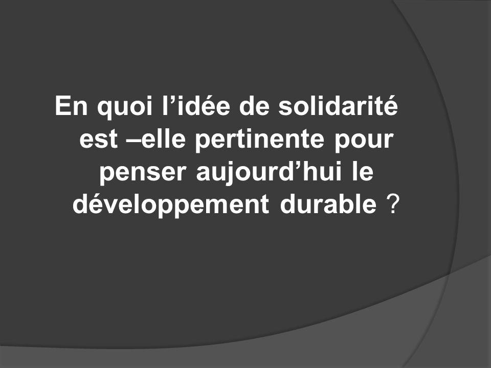 En quoi lidée de solidarité est –elle pertinente pour penser aujourdhui le développement durable