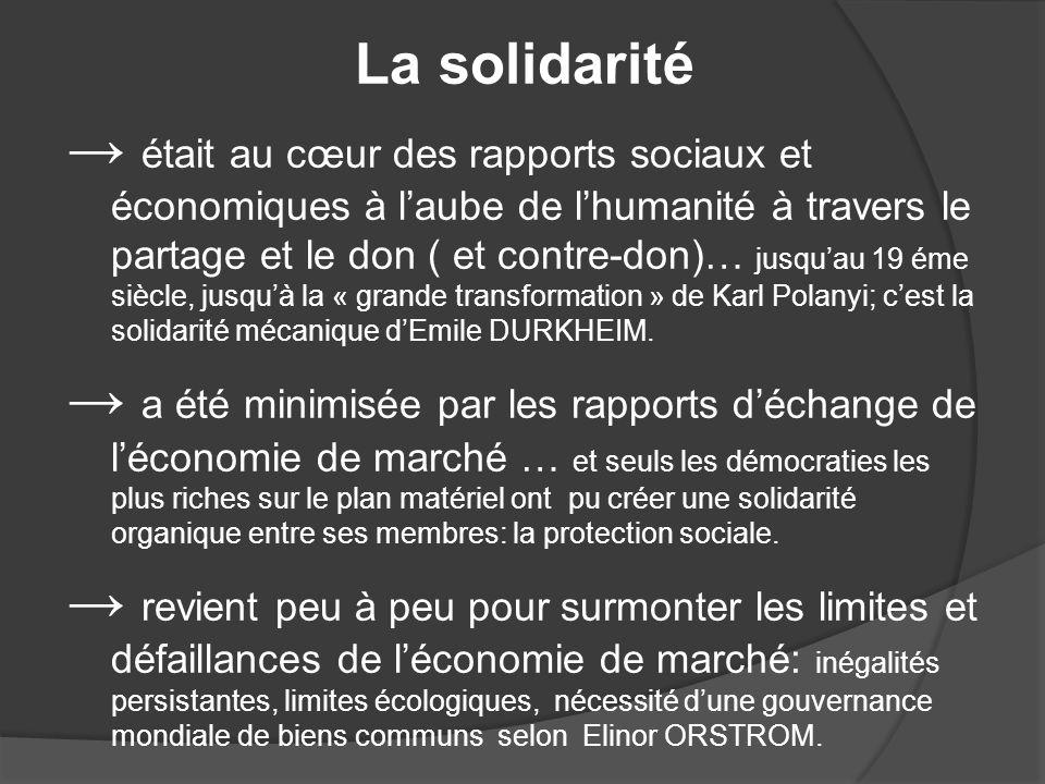 La solidarité était au cœur des rapports sociaux et économiques à laube de lhumanité à travers le partage et le don ( et contre-don)… jusquau 19 éme siècle, jusquà la « grande transformation » de Karl Polanyi; cest la solidarité mécanique dEmile DURKHEIM.