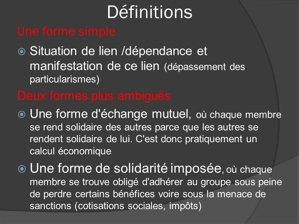 Définitions Une forme simple Situation de lien /dépendance et manifestation de ce lien (dépassement des particularismes) Deux formes plus ambiguës Une