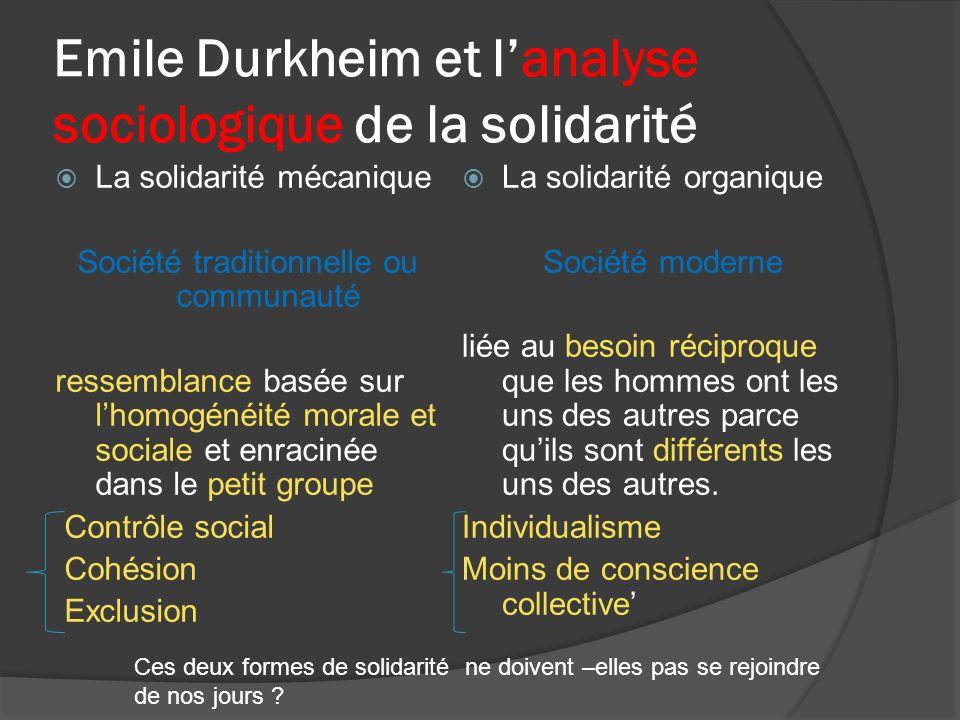 Emile Durkheim et lanalyse sociologique de la solidarité La solidarité mécanique Société traditionnelle ou communauté ressemblance basée sur lhomogéné