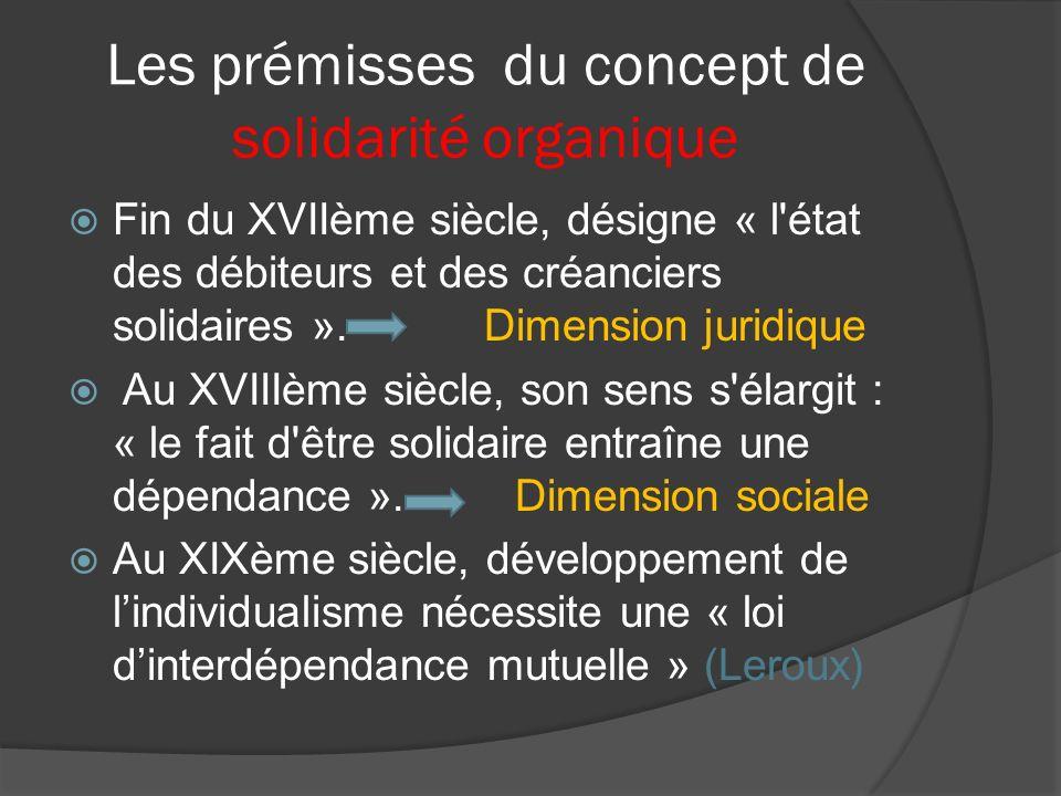 Les prémisses du concept de solidarité organique Fin du XVIIème siècle, désigne « l'état des débiteurs et des créanciers solidaires ». Dimension jurid