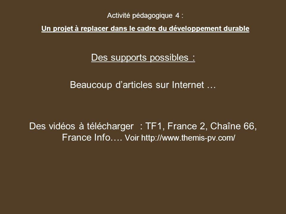 Des supports possibles : Beaucoup darticles sur Internet … Des vidéos à télécharger : TF1, France 2, Chaîne 66, France Info…. Voir http://www.themis-p