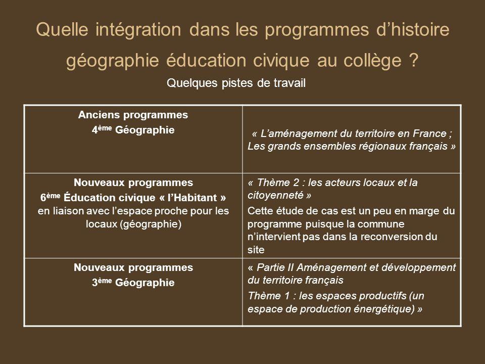Quelle intégration dans les programmes dhistoire géographie éducation civique au collège ? Quelques pistes de travail Anciens programmes 4 ème Géograp