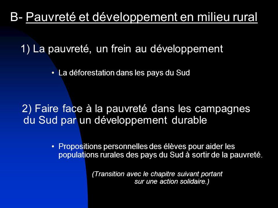 B- Pauvreté et développement en milieu rural 1) La pauvreté, un frein au développement La déforestation dans les pays du Sud 2) Faire face à la pauvre