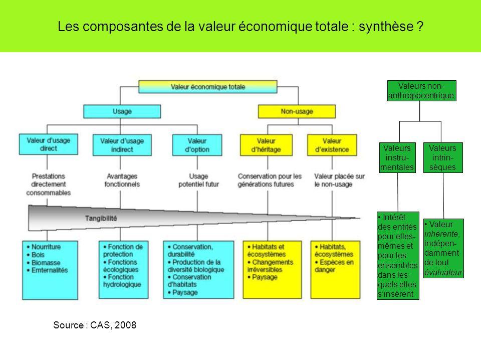 Les composantes de la valeur économique totale : synthèse ? Source : CAS, 2008 Valeurs non- anthropocentrique Valeurs instru- mentales Valeurs intrin-