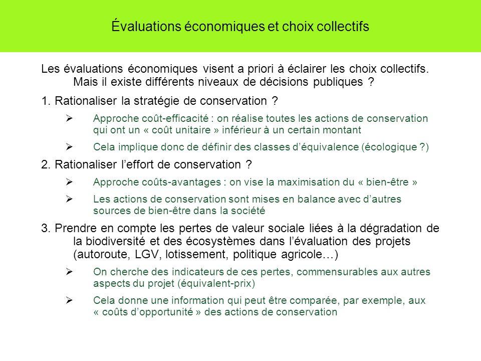 Évaluations économiques et choix collectifs Les évaluations économiques visent a priori à éclairer les choix collectifs. Mais il existe différents niv