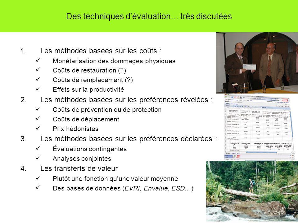 Des techniques dévaluation… très discutées 1.Les méthodes basées sur les coûts : Monétarisation des dommages physiques Coûts de restauration (?) Coûts