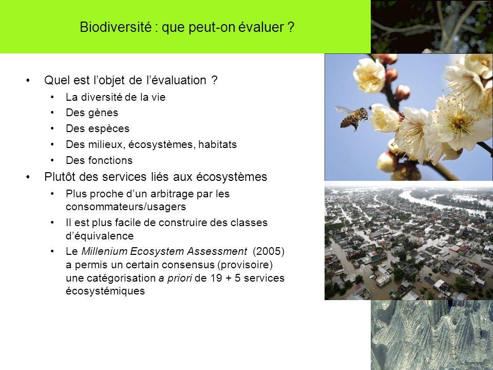 Biodiversité : que peut-on évaluer ? Quel est lobjet de lévaluation ? La diversité de la vie Des gènes Des espèces Des milieux, écosystèmes, habitats
