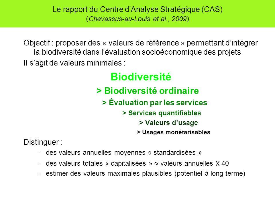 Le rapport du Centre dAnalyse Stratégique (CAS) ( Chevassus-au-Louis et al., 2009 ) Objectif : proposer des « valeurs de référence » permettant dintég