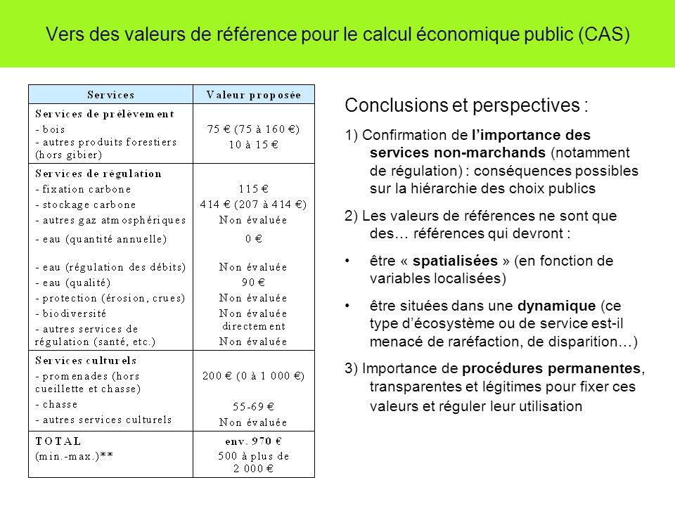 Vers des valeurs de référence pour le calcul économique public (CAS) Conclusions et perspectives : 1) Confirmation de limportance des services non-mar